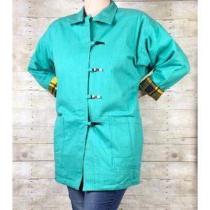 Vintage Aqua Green Oversized Coat with Yellow Plaid Flannel Lining